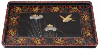 Antique quality Chinoiserie black lacquer serving tray C1910