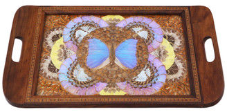 Antique quality inlaid tunbridge ware butterfly serving tray C1920