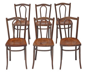 Antique set of 6 early bentwood kitchen dining chairs 19th Century