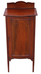 Antique Edwardian inlaid mahogany music cabinet cupboard C1910
