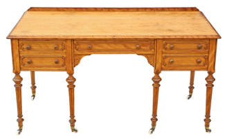 Antique fine quality large Victorian satin birch desk writing dressing table