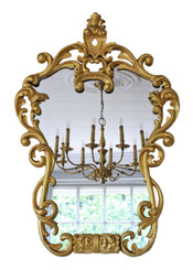 Antique 19th Century large decorative gilt wall mirror