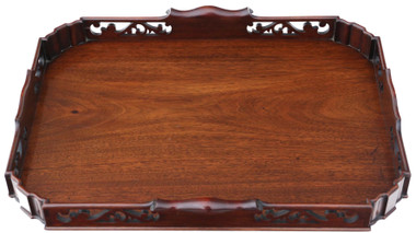 Antique quality large fret cut mahogany serving tray C1920