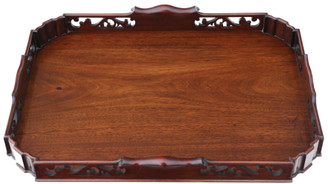 Antique quality large fret cut mahogany serving tray C1920