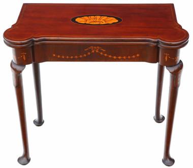 Antique quality Georgian II C1750 inlaid mahogany folding card table tea console