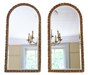 Antique pair of large quality arched gilt overmantle or wall mirrors C1950