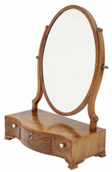 Antique quality Georgian serpentine inlaid mahogany dressing table swing mirror