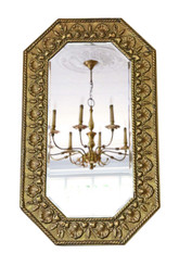 Antique quality Art Nouveau brass overmantle or wall mirror C1910