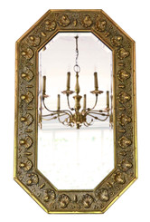 Antique quality Art Nouveau brass wall or overmantle mirror C1910