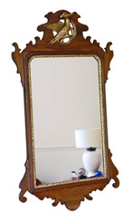 Antique large Georgian revival mahogany and gilt fret cut wall mirror C1900