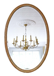 Antique quality oval Edwardian inlaid Mahogany overmantle or wall mirror C1910