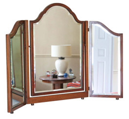 Antique mahogany triple swing dressing table mirror toilet C1920