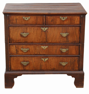 Antique Georgian and later crossbanded walnut oak chest of drawers 18th Century