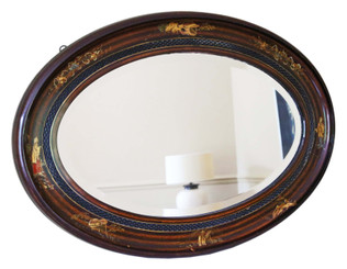 Antique quality oval decorated mahogany chinoiserie mirror C1910-20