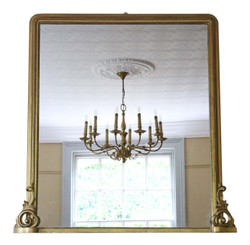 Antique large quality Victorian gilt overmantle wall mirror C1850