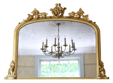Antique large Victorian gilt overmantle or wall mirror 19th Century