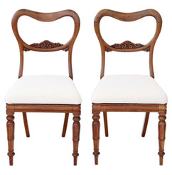 Antique quality pair of William IV rosewood balloon back dining chairs C1835
