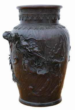 Antique fine quality Japanese 19th Century bronze vase C1850.