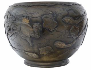 Antique large Oriental Early 20C bronze jardiniere planter bowl