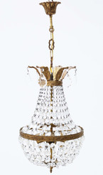 Large antique vintage ormolu brass 4 lamp crystal basket chandelier