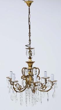 Large antique vintage ormolu brass 6 arm/lamp crystal chandelier
