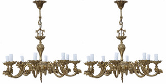 Pair of large vintage 8 lamp arm brass ormolu chandeliers antique