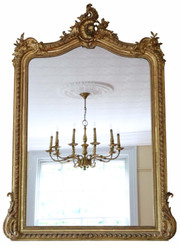 Antique large fine quality Victorian gilt overmantle wall mirror 19th Century