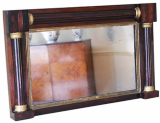 Antique quality Regency mahogany and gilt overmantle or wall mirror C1825