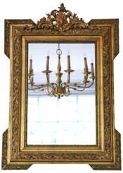 Antique rare fine quality gilt overmantle or wall mirror C1900