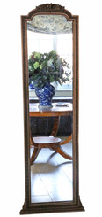 Antique large dark gilt full height arched wall mirror C1900