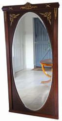 Antique very large quality inlaid mahogany full height wall mirror C1910-1930