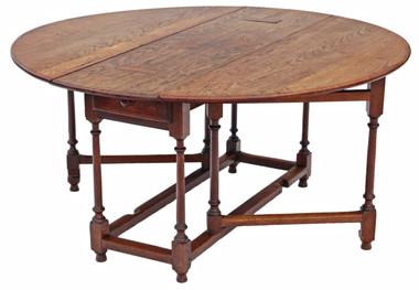 Antique large 19th Century oak gate leg drop leaf dining table
