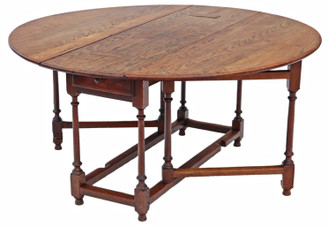 Antique large 19th Century oak gate leg drop leaf dining table