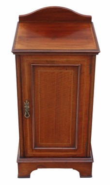 Antique Edwardian inlaid mahogany bedside table cupboard cabinet