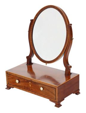 Antique quality small Georgian mahogany dressing table swing mirror C1800