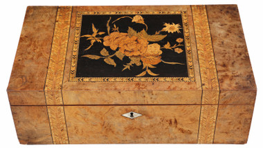 Antique quality Victorian 19th Century marquetry writing box desk table slope