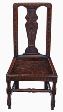 Antique Georgian 18th Century oak hall, side occasional decorative chair