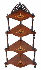 Antique Victorian 19th C inlaid figured walnut corner whatnot shelves display