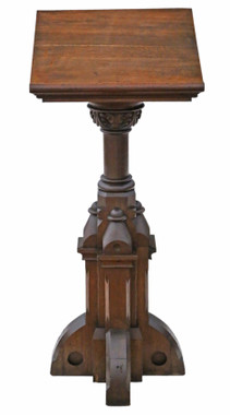Antique 19th Century Gothic carved oak pedestal lectern stand table station