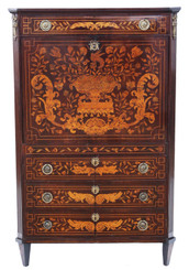 Antique quality 19th Century Dutch Marquetry bureau abattant secretaire desk