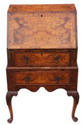 Antique small Georgian revival inlaid burr walnut bureau desk writing table