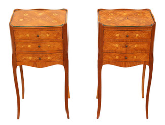 Antique quality pair of French inlaid marquetry bedside tables cupboards