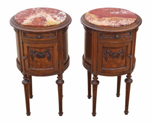 Antique quality pair of French oak cylindrical bedside tables cupboards marble