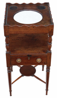 Antique quality Georgian C1820 mahogany bedside table washstand