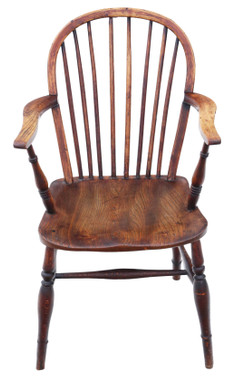 Antique Victorian 19th century ash elm yew Windsor chair dining armchair