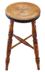 Antique quality Victorian 19th Century elm and light mahogany stool