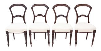 Antique set of 4 Victorian walnut balloon back dining chairs C1880
