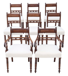 Antique fine quality set of 8 (6+2) Georgian mahogany dining chairs C1800