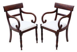 Antique fine quality pair of Regency C1820-30 mahogany elbow desk carver chairs