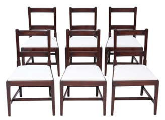 Antique quality set of 6 Georgian mahogany dining chairs 19th Century